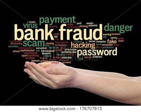 Concept or conceptual bank fraud payment scam danger abstract word cloud in hand isolated on background