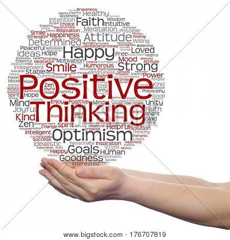 Concept or conceptual positive thinking, happy or strong attitude circle word cloud in hands isolated on background
