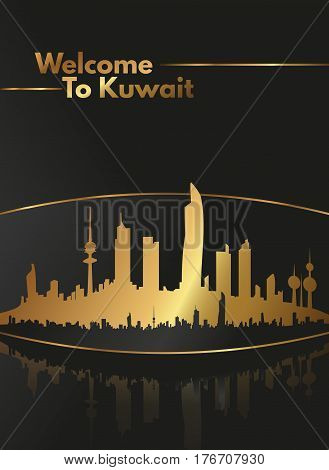 Luxurious Gold And Black Welcome To Kuwait Skyline Poster