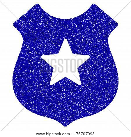 Grunge Police Shield rubber seal stamp watermark. Icon symbol with grunge design and unclean texture. Unclean vector blue sticker.