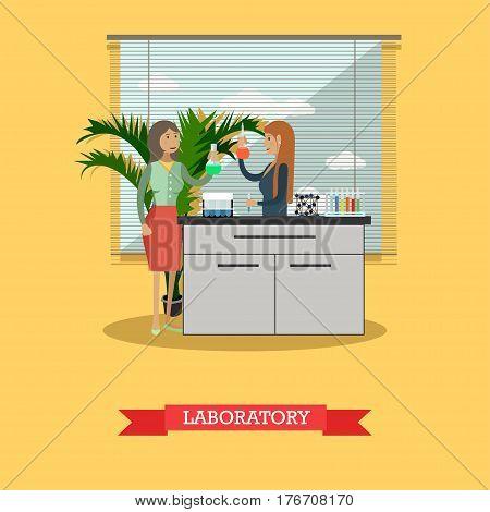 Vector illustration of chemists females testing chemical elements. Chemistry laboratory interior, lab glassware. University laboratory flat style design element.