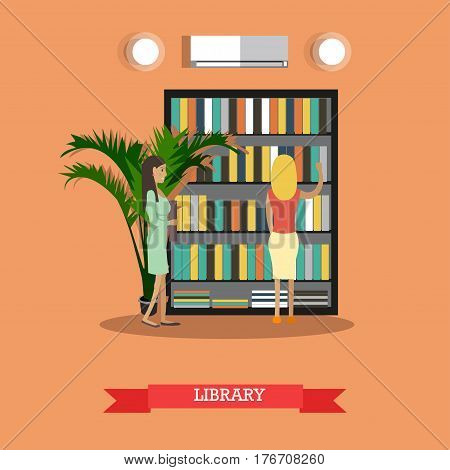 Vector illustration of students females at college or university library. Flat style design.