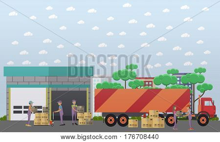 Logistics warehouse vector illustration. Loaders workers unloading goods in cardboard boxes from truck flat style design elements.