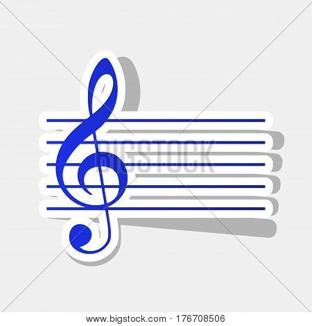 Music violin clef sign. G-clef. Vector. New year bluish icon with outside stroke and gray shadow on light gray background.
