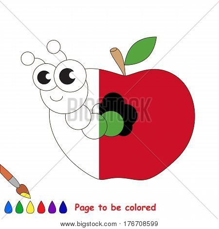 Apple worm to be colored, the coloring book to educate preschool kids with easy kid educational gaming and primary education of simple game level.