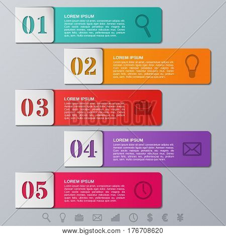 Infographics frames. Infographic elements. Vector arrows templates 5 options. Info graphic timeline data for text, brochure, web design with icons. Business concept.