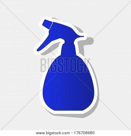 Spray bottle for cleaning sign. Vector. New year bluish icon with outside stroke and gray shadow on light gray background.