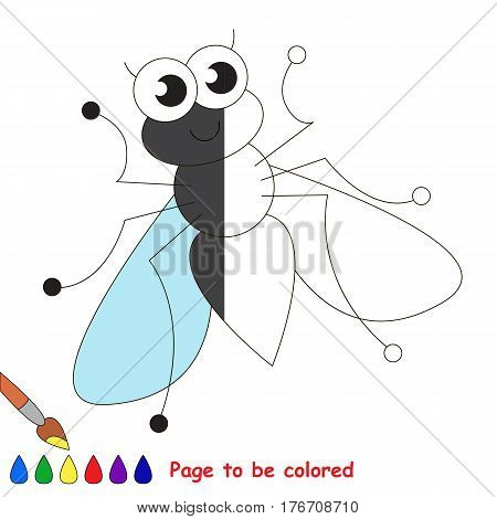 Cute fly to be colored, the coloring book to educate preschool kids with easy kid educational gaming and primary education of simple game level.