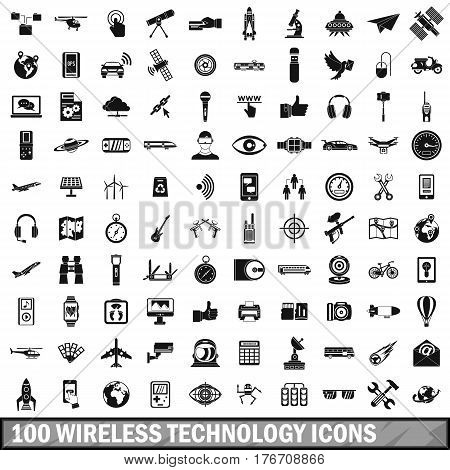 100 wireless technology icons set in simple style for any design vector illustration
