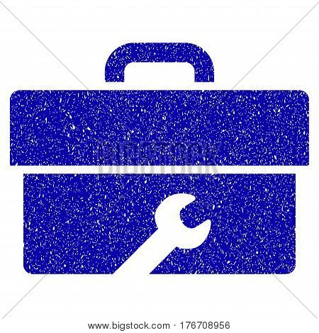 Grunge Toolbox rubber seal stamp watermark. Icon symbol with grunge design and dust texture. Unclean vector blue emblem.