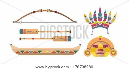 Wild west american indian designed element traditional art concept and native tribal ethnic feather culture ornament for the design vector illustration. Vintage abstract aztec decoration