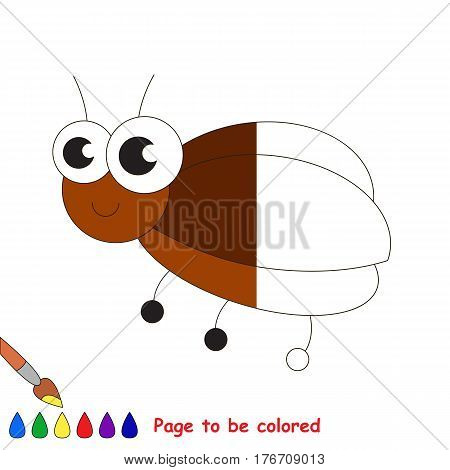 Small bug to be colored, the coloring book to educate preschool kids with easy kid educational gaming and primary education of simple game level.