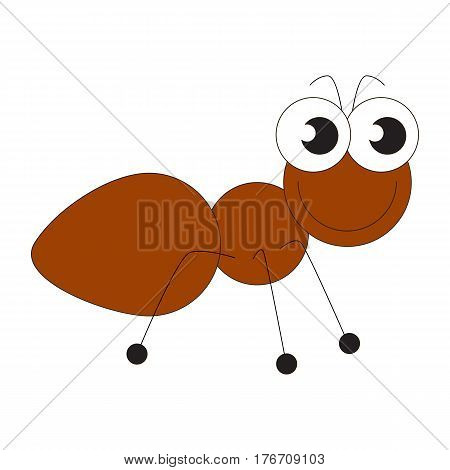 Brown ant cartoon. Outlined character with black stroke.
