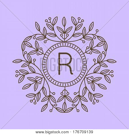 Monogram R logo and text badge emblem line art vector illustration luxury template flourishes calligraphic leaves elegant ornament sign. Flourish outline decoration frame border with letter.