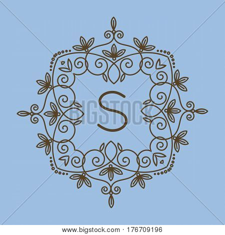 Monogram S logo and text badge emblem line art vector illustration luxury template flourishes calligraphic leaves elegant ornament sign. Flourish outline decoration frame border with letter.