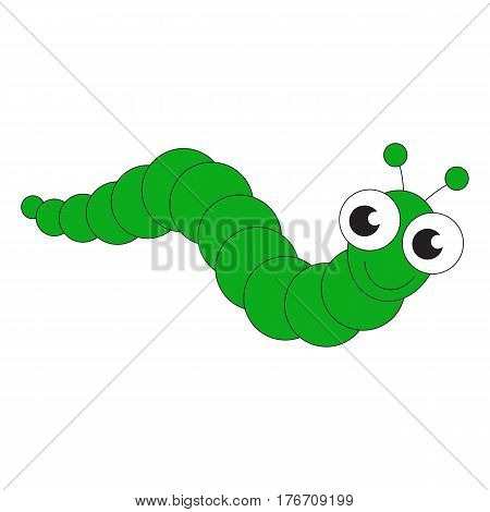 Green caterpillar cartoon. Outlined character with black stroke.