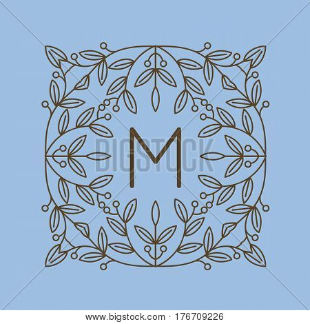 Monogram M logo and text badge emblem line art vector illustration luxury template flourishes calligraphic leaves elegant ornament sign. Flourish outline decoration frame border with letter.