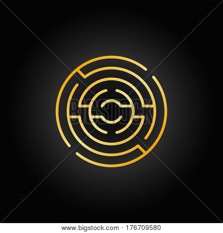 Gold circular maze icon. Vector colorful round labyrinth concept sign in thin line style on dark background