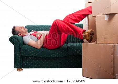 Mover Man Taking A Nap On Couch