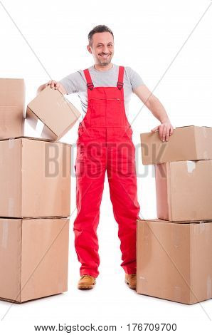 Full Body Guy Standing Around Cardboard Boxes