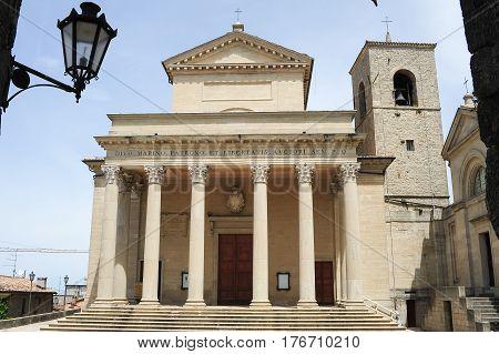 Borgo Meggiore, San Marino - 4 July 2014:  Basilica of saint Marinus on Borgo Maggiore at San Marino