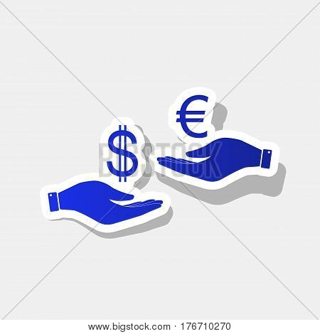 Currency exchange from hand to hand. Dollar adn Euro. Vector. New year bluish icon with outside stroke and gray shadow on light gray background.