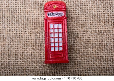 Red Color Phone Booth On Canvas Background