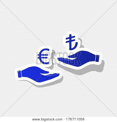 Currency exchange from hand to hand. Euro and Lira. Vector. New year bluish icon with outside stroke and gray shadow on light gray background.