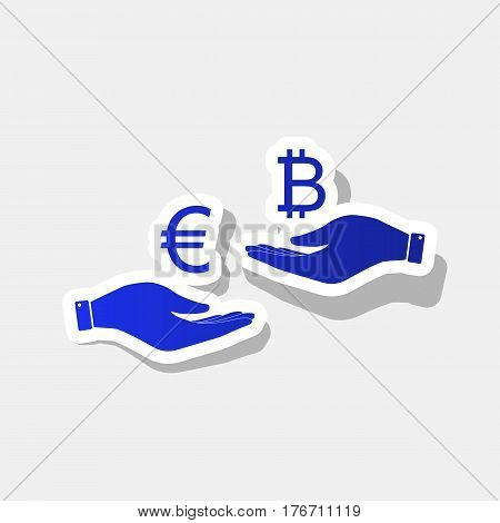 Currency exchange from hand to hand. Euro an Bitcoin. Vector. New year bluish icon with outside stroke and gray shadow on light gray background.