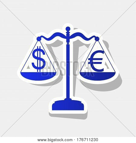 Justice scales with currency exchange sign. Vector. New year bluish icon with outside stroke and gray shadow on light gray background.