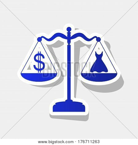 Dress and dollar symbol on scales. Vector. New year bluish icon with outside stroke and gray shadow on light gray background.