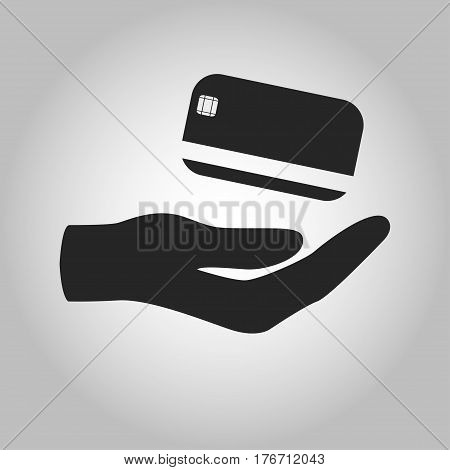 icon hand holding credit card isolated on grey background