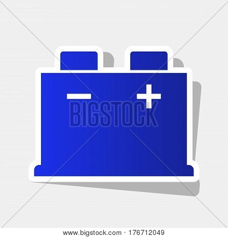 Car battery sign. Vector. New year bluish icon with outside stroke and gray shadow on light gray background.