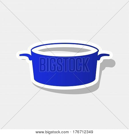 Pan sign. Vector. New year bluish icon with outside stroke and gray shadow on light gray background.