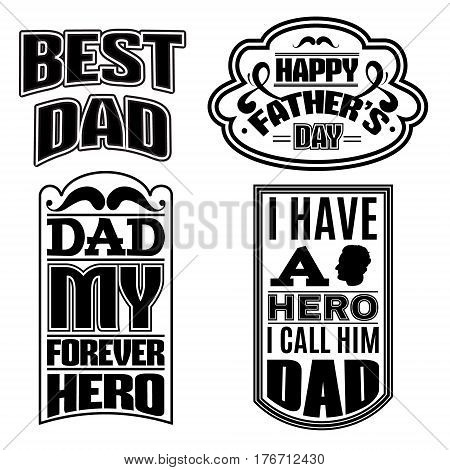 Collection of quote typographical background Template for poster card for father's day banner and label with realistic illustration of male profile.
