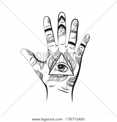 Illusitration of hand with All seeing eye pyramid symbol. New World Order. Hand drawn Eye of Providence. Alchemy religion spirituality occultism. Template for poster business card and banner. Conspiracy theory.