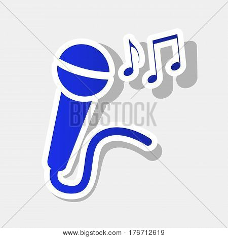 Microphone sign with music notes. Vector. New year bluish icon with outside stroke and gray shadow on light gray background.