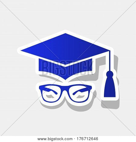 Mortar Board or Graduation Cap with glass. Vector. New year bluish icon with outside stroke and gray shadow on light gray background.