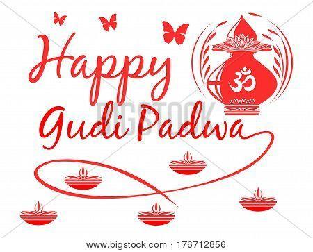 Happy Gudi Padwa. First Day of waxing moon of Chaitra, Hindu calendar. Logo. Vector illustration