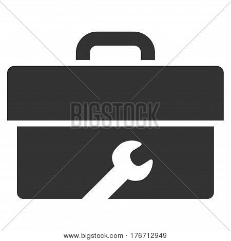 Toolbox vector icon. Flat gray symbol. Pictogram is isolated on a white background. Designed for web and software interfaces.