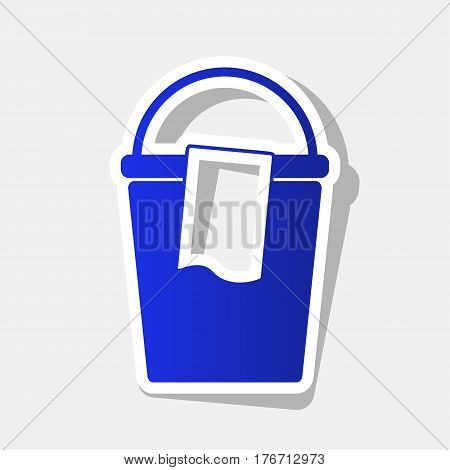 Bucket and a rag sign. Vector. New year bluish icon with outside stroke and gray shadow on light gray background.