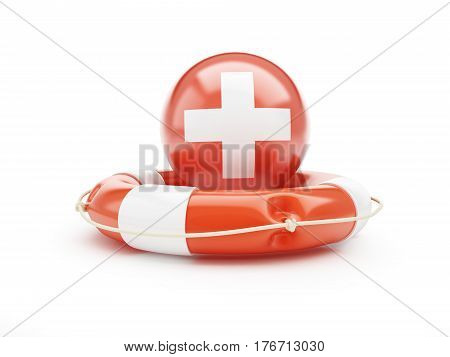 Lifebelt with Switzerland flag help on a white background 3D illustration