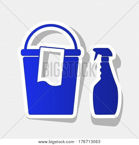 Bucket and a rag with Household chemical bottles. Vector. New year bluish icon with outside stroke and gray shadow on light gray background.