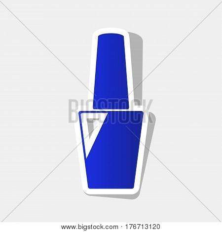 Nail polish sign. Vector. New year bluish icon with outside stroke and gray shadow on light gray background.