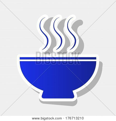 Soup sign. Vector. New year bluish icon with outside stroke and gray shadow on light gray background.