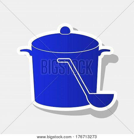 Pan with steam sign. Vector. New year bluish icon with outside stroke and gray shadow on light gray background.