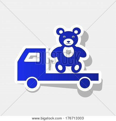 Truck with bear. Vector. New year bluish icon with outside stroke and gray shadow on light gray background.