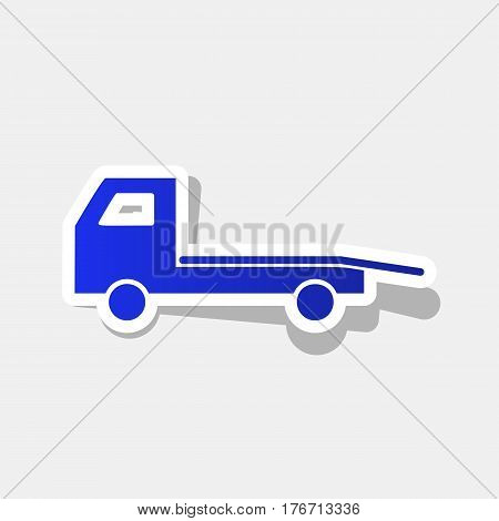 Service of evacuation sign. Wrecking car side. Car evacuator. Vehicle towing. Vector. New year bluish icon with outside stroke and gray shadow on light gray background.