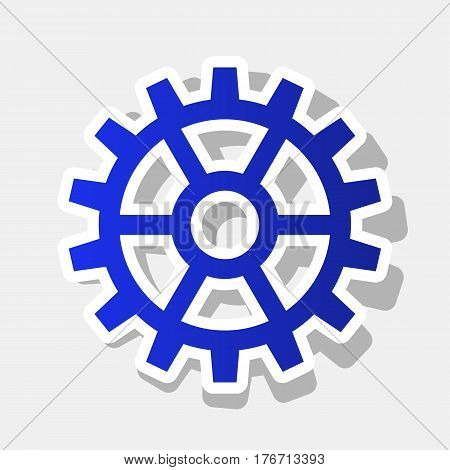 Gear sign. Vector. New year bluish icon with outside stroke and gray shadow on light gray background.