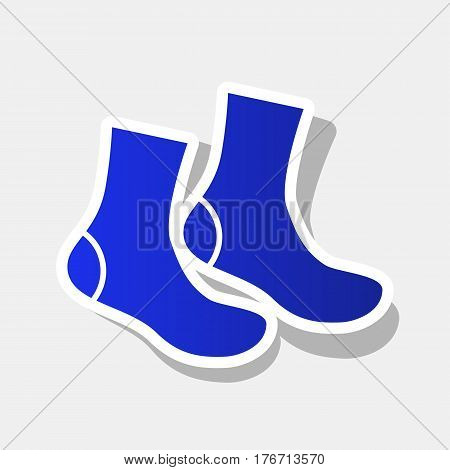 Socks sign. Vector. New year bluish icon with outside stroke and gray shadow on light gray background.